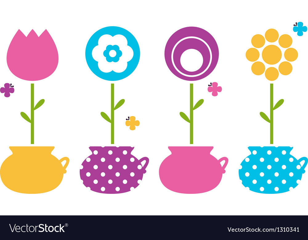Cute spring flowers in flower pots