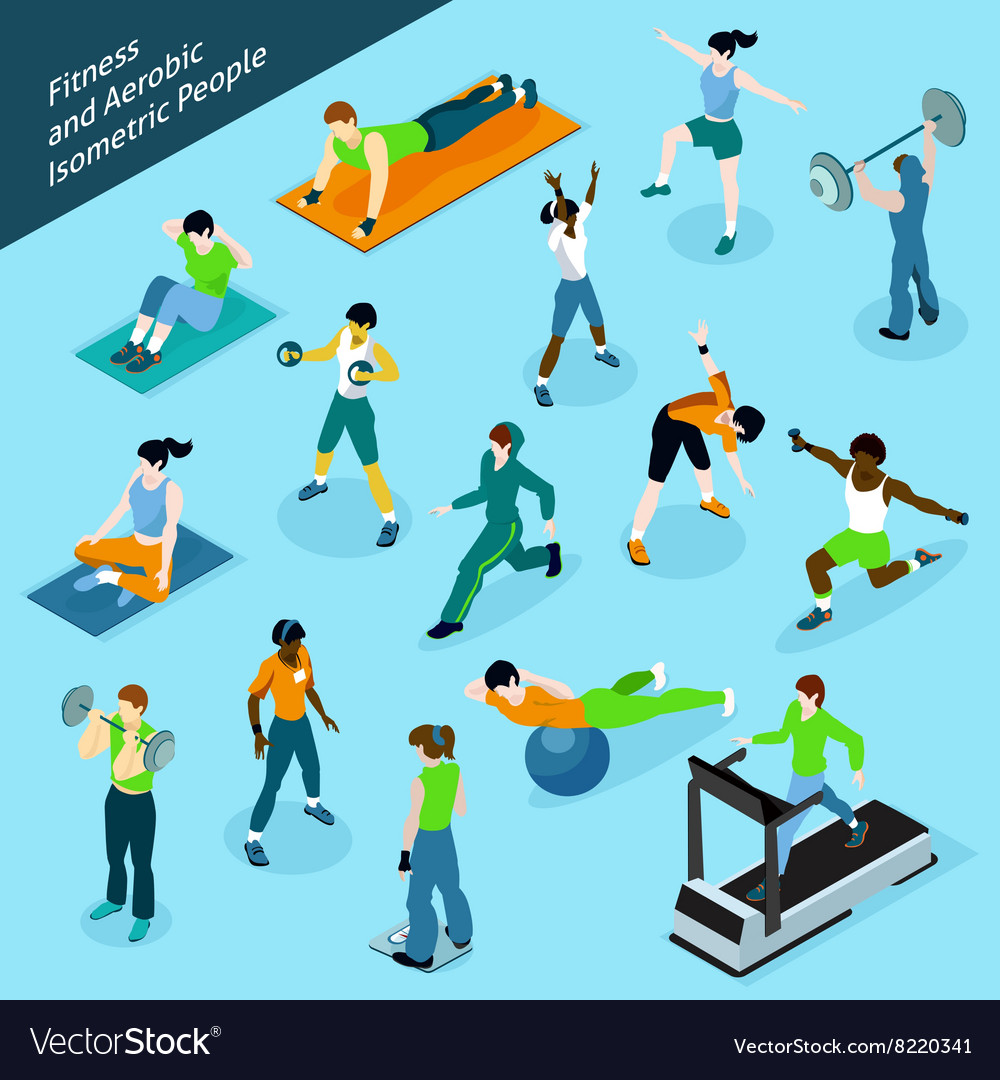 Fitness Aerobic Isometric People Icon Set