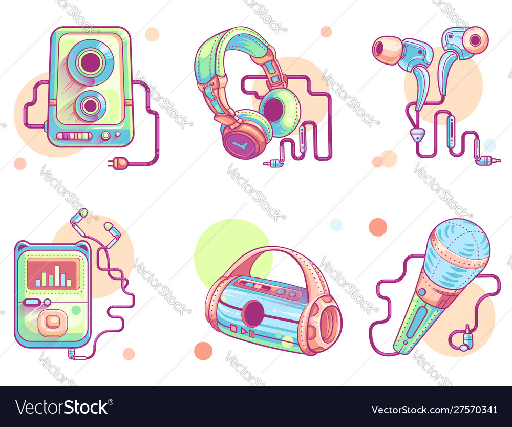 Music or audio line art icons color pictograph