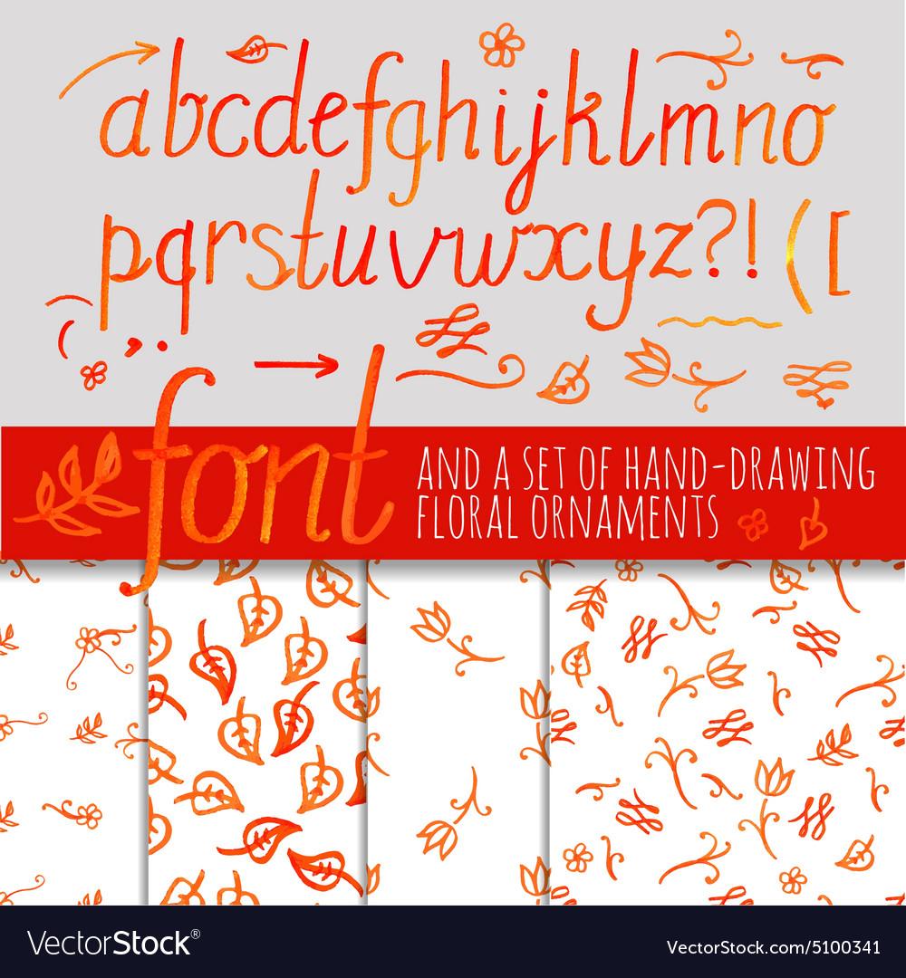 Orange color calligraphic font