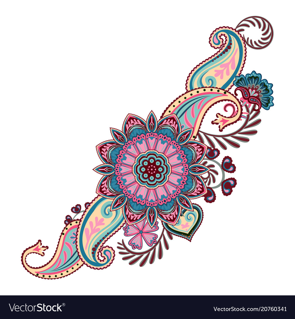Ornate ornament with fantastic flowers with