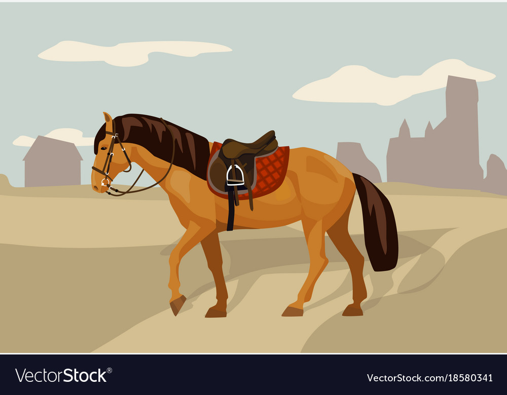 Saddled horse in country landscape