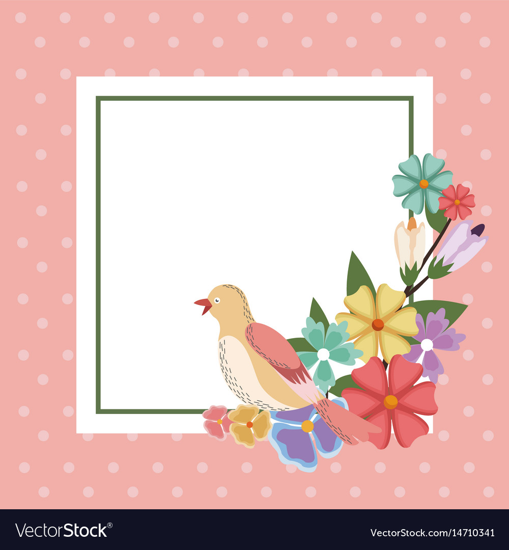 Spring card bird flower frame decoration