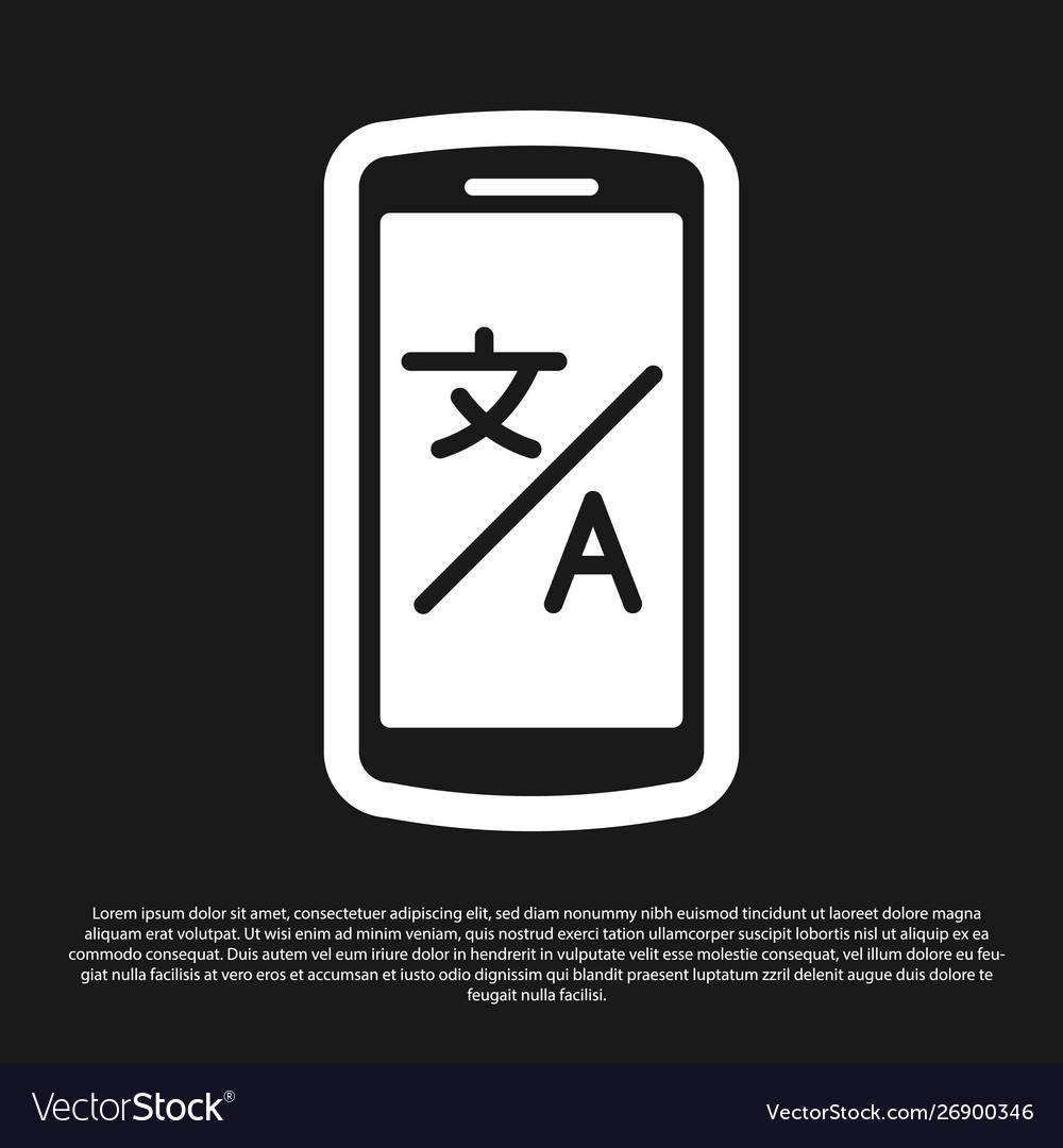 Black online translator icon isolated on black