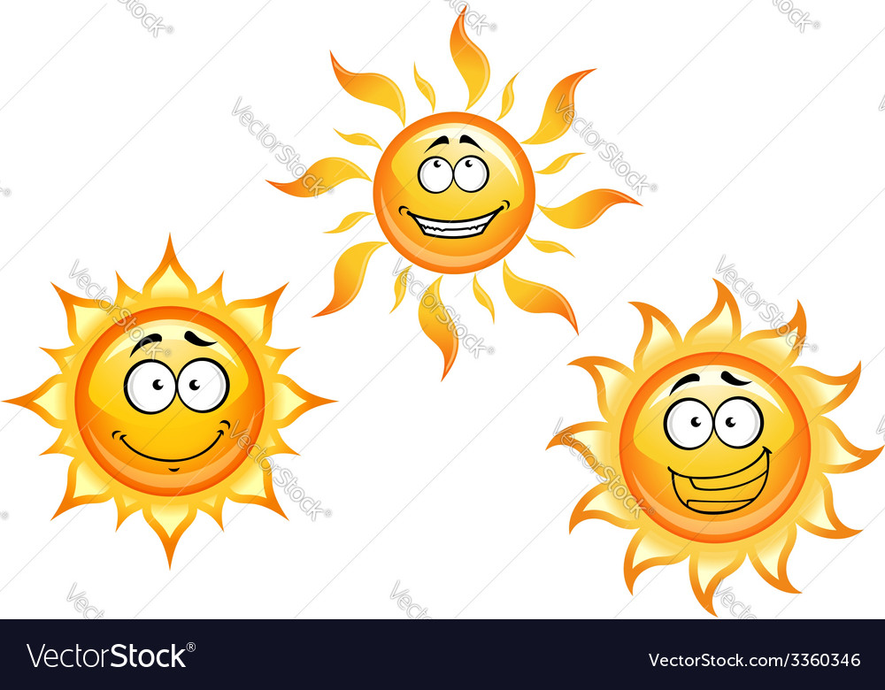 Cartoon sun characters vector image