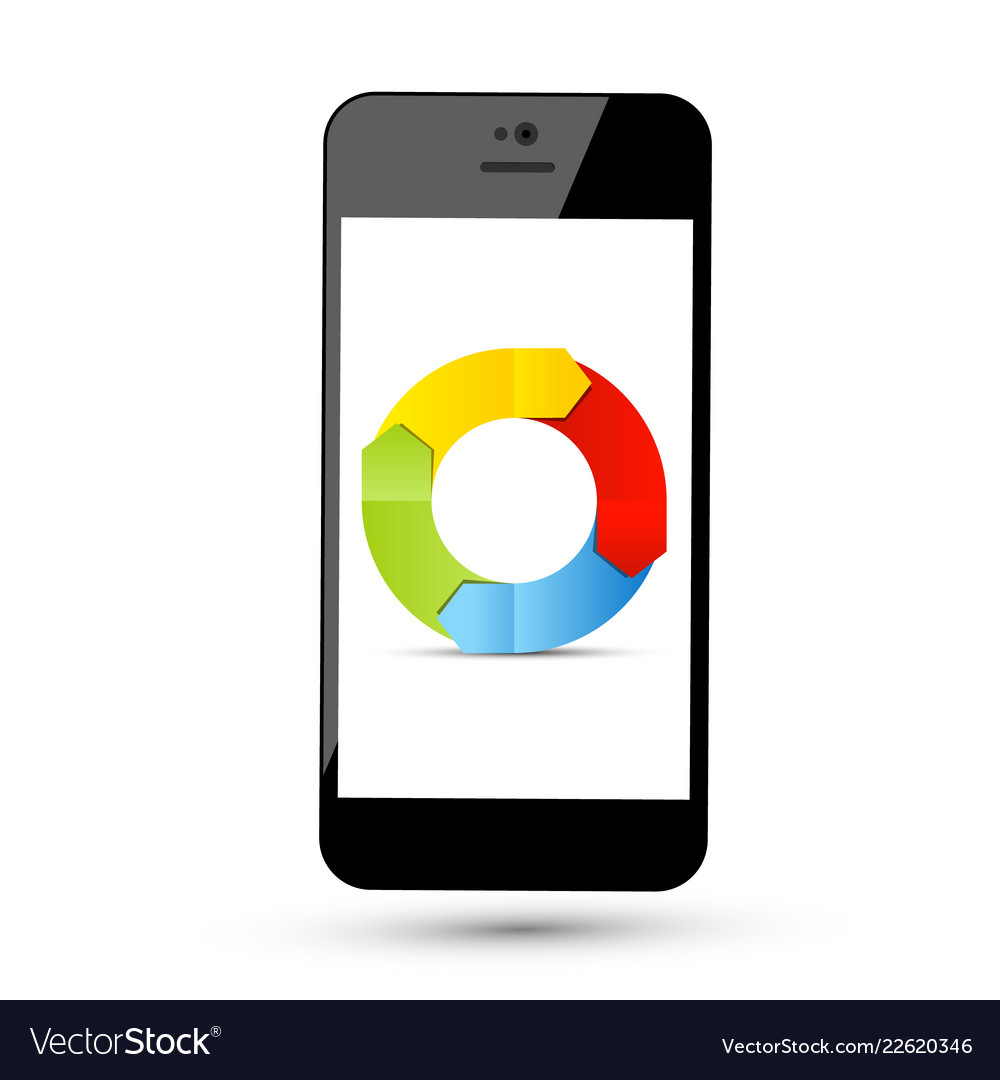 Colorful arrows in circle on phone screen