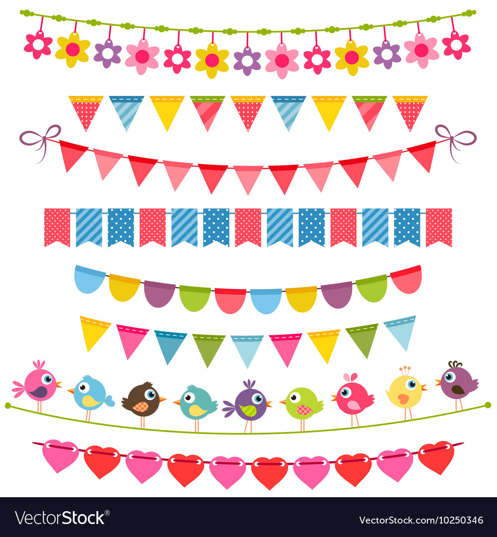Colorful flags bunting and garlands vector image