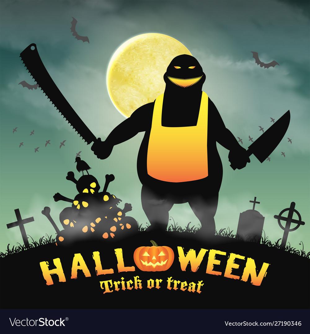 Halloween butcher monster in a night graveyard