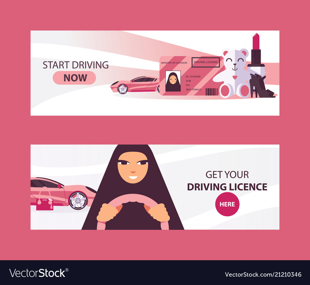 Horizontal banners with saudi woman driving in