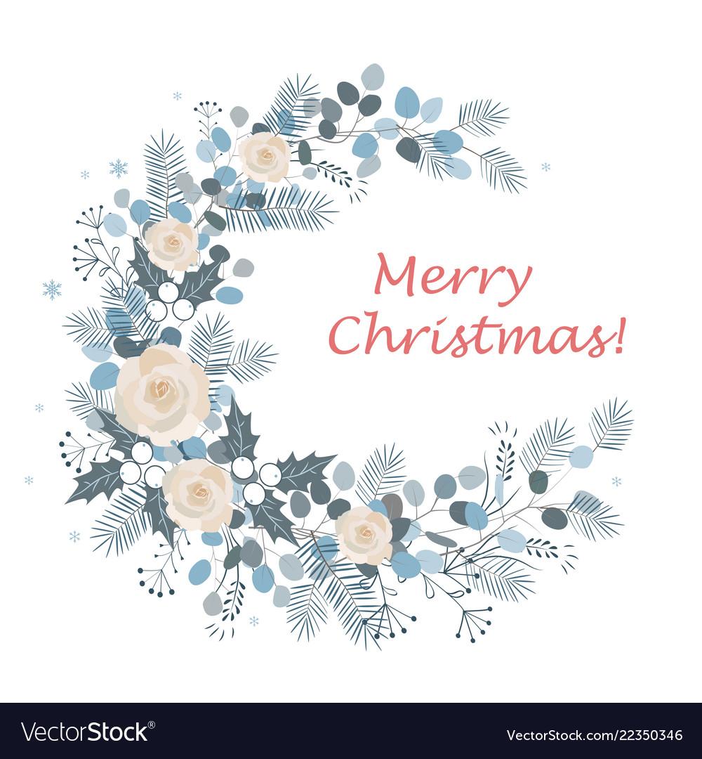 Merry christmas wreath design new year decoration