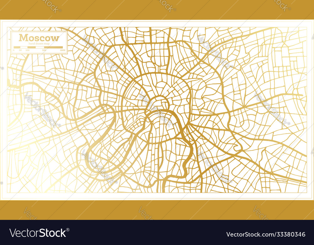 Moscow russia city map in retro style in golden