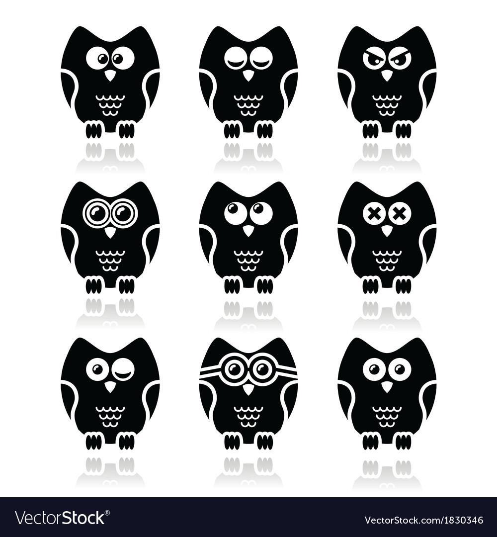 Owl cartoon character icons set