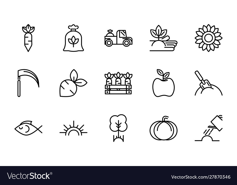 Rural agriculture thick line icons set