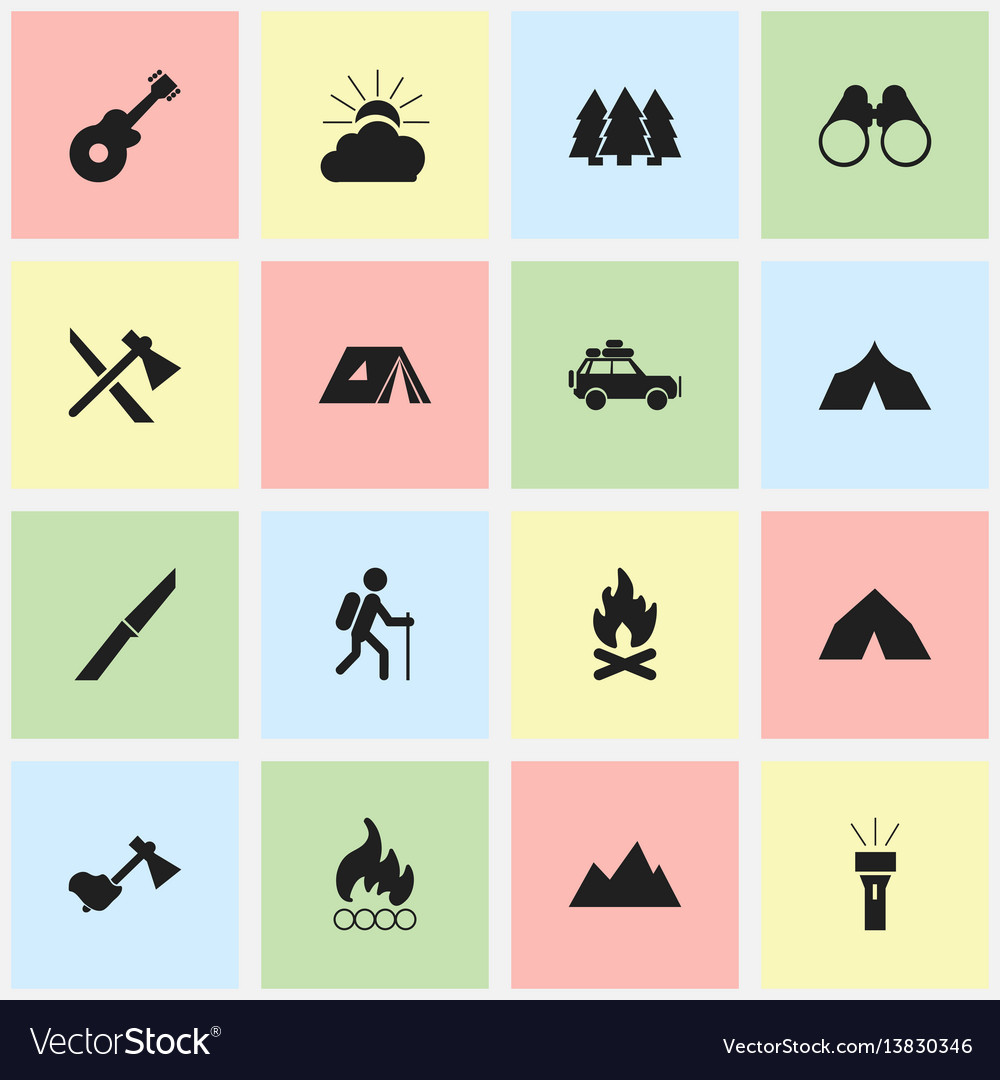 Set of 16 editable travel icons includes symbols