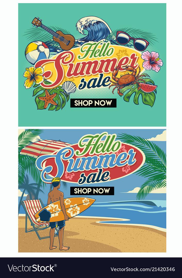 tropical summer beach flyer design set royalty free vector