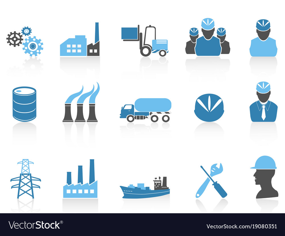 Blue color series industry icons set