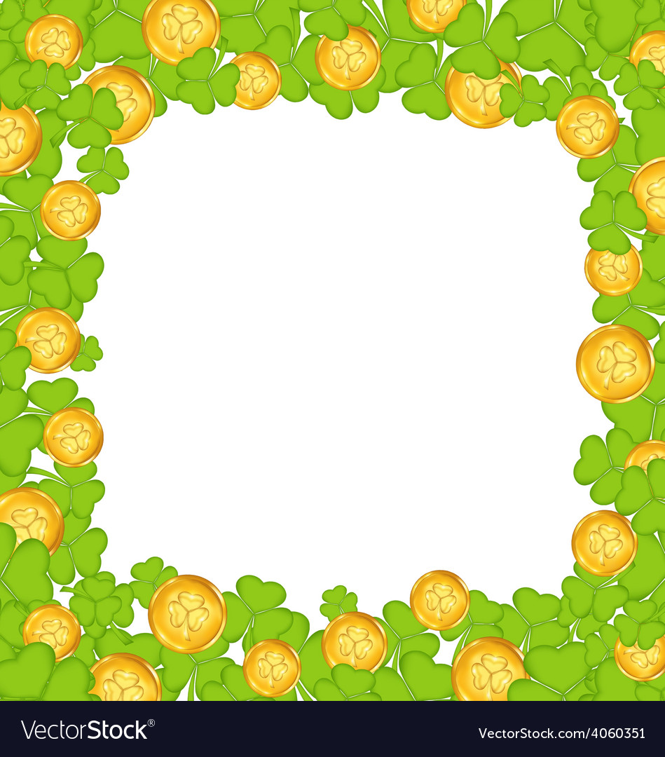 Border with clovers and golden coins for St