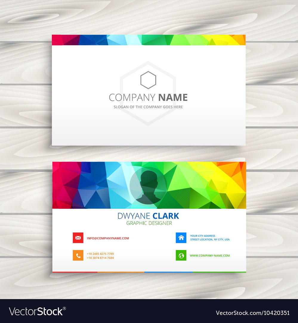 Colorful business card Royalty Free Vector Image