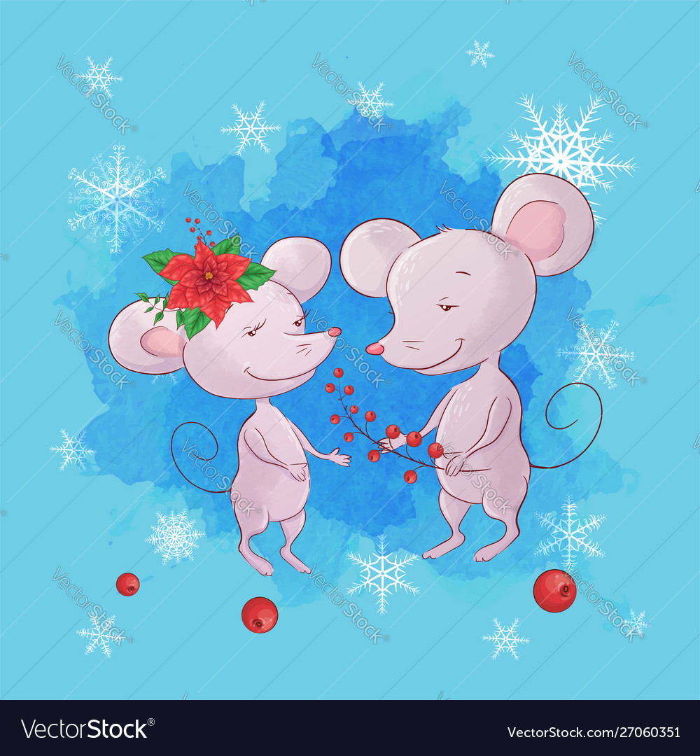 Cute cartoon mouse boy and girl greeting card for