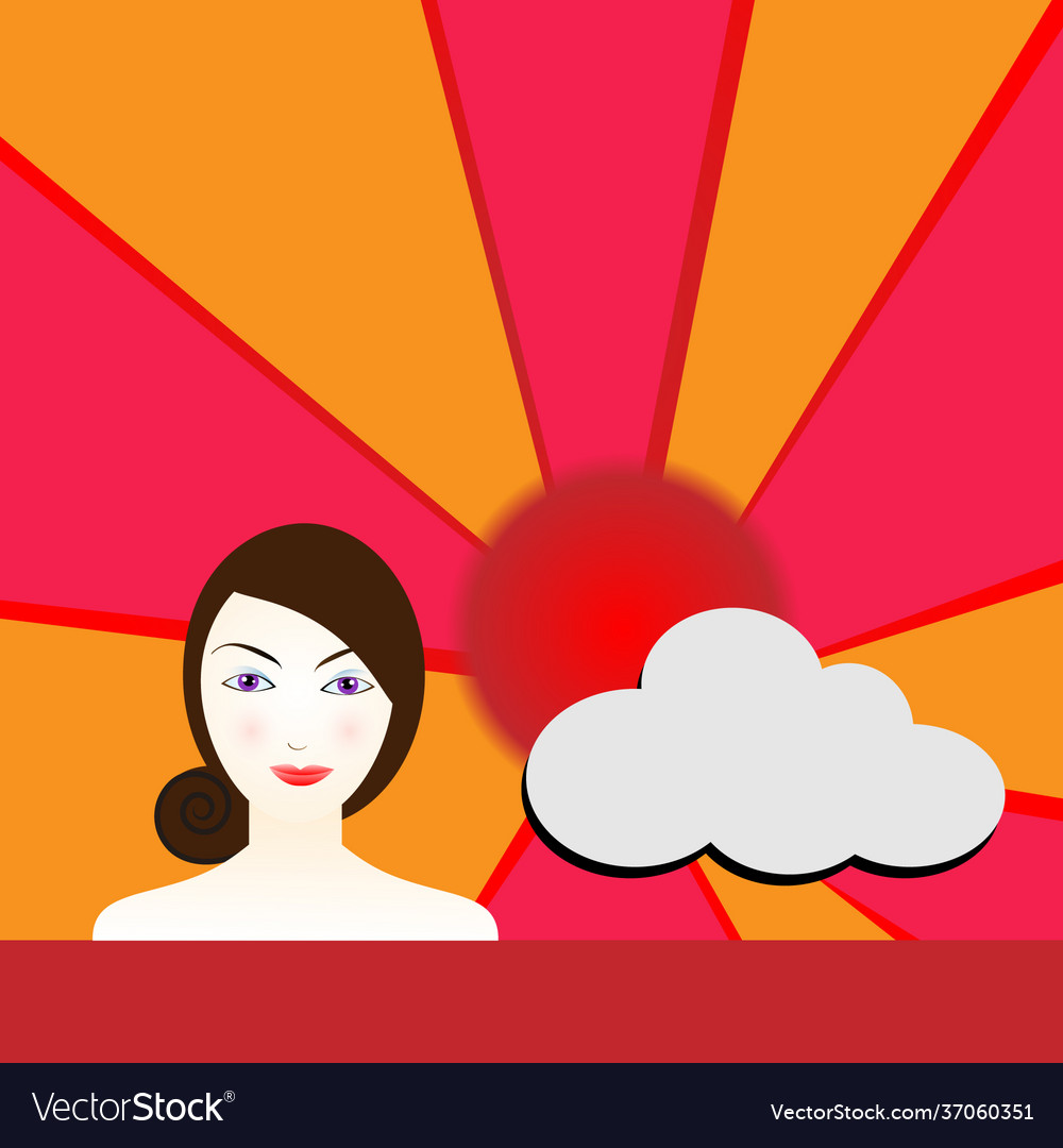 Cute woman with sun and clouds in daytime