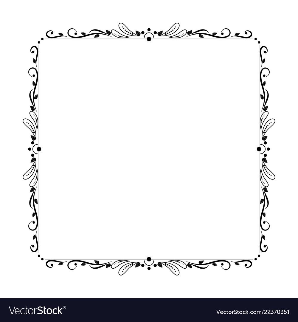 Elegant vintage contour frame with petals circles