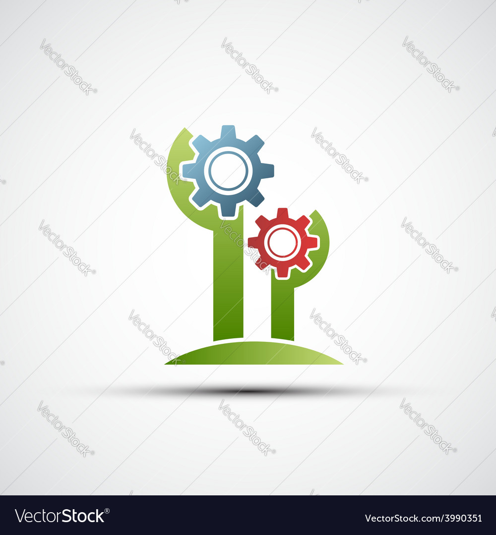 Flower logo in the form of gears