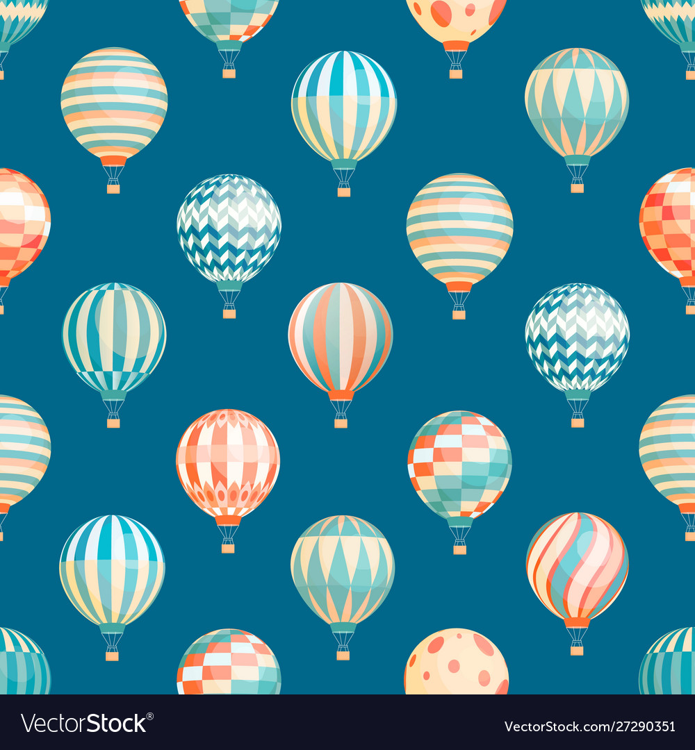 Hot air balloons seamless pattern flying