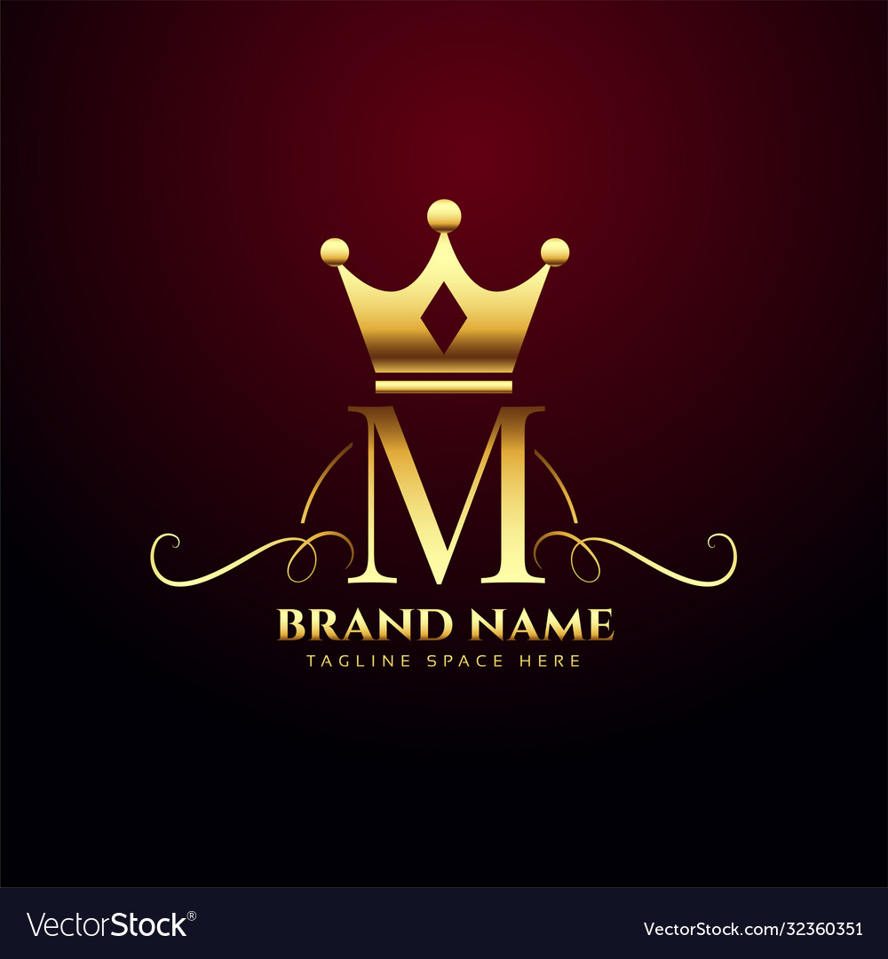 Letter m monogram logo with golden crown design