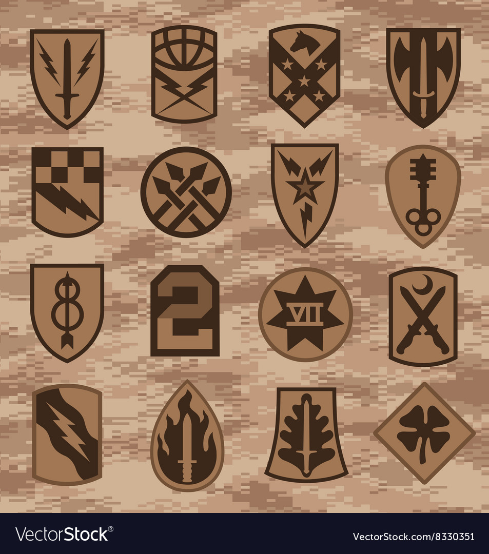 Military camouflage emblem patch set in tan