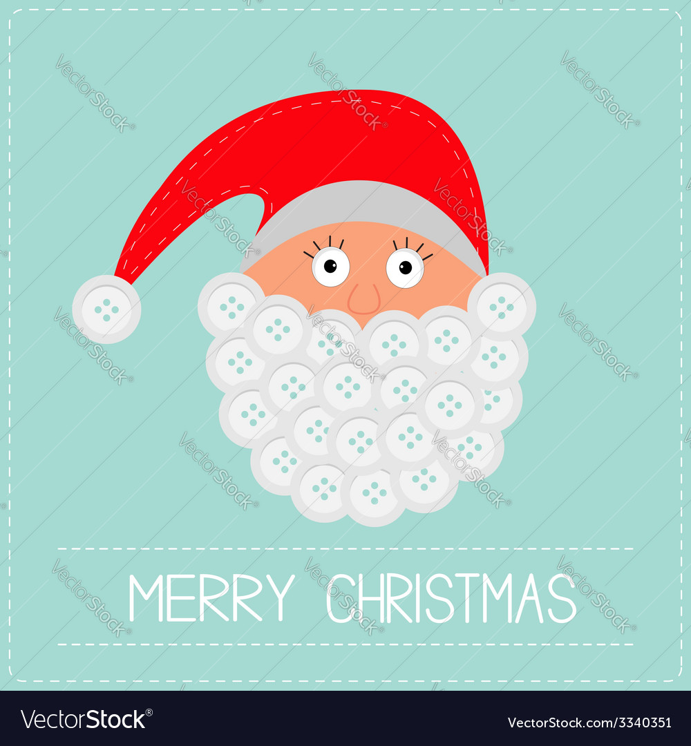 Santa Claus face with button beard Merry Christmas