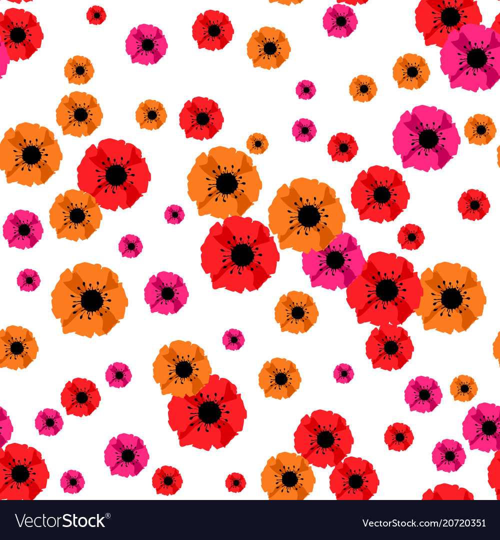 Seamless background with red poppies