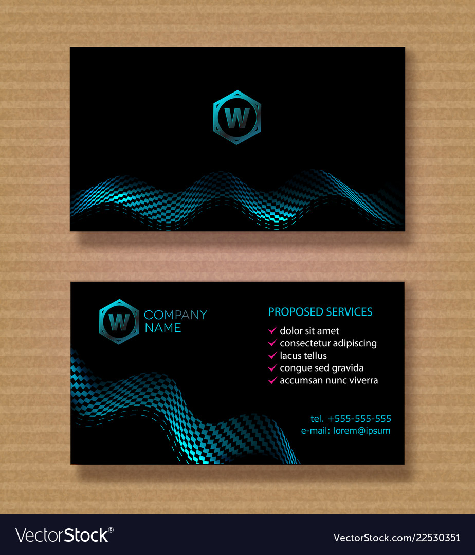 Set business card template for a company with a