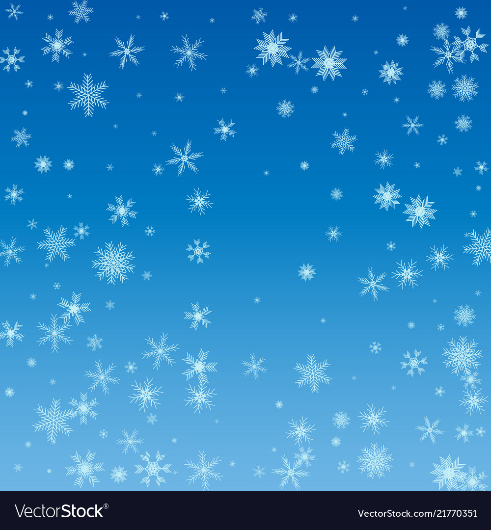 Winter blue sky with falling snow snowflake