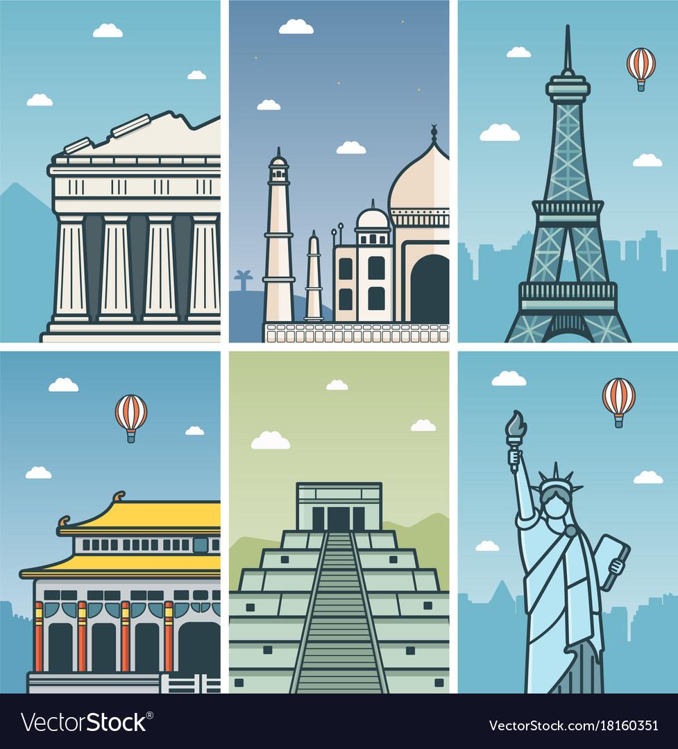 World landmarks design with cities skylines vector image