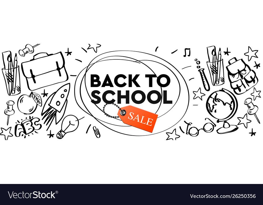 Back to school sale horizontal banner doodle