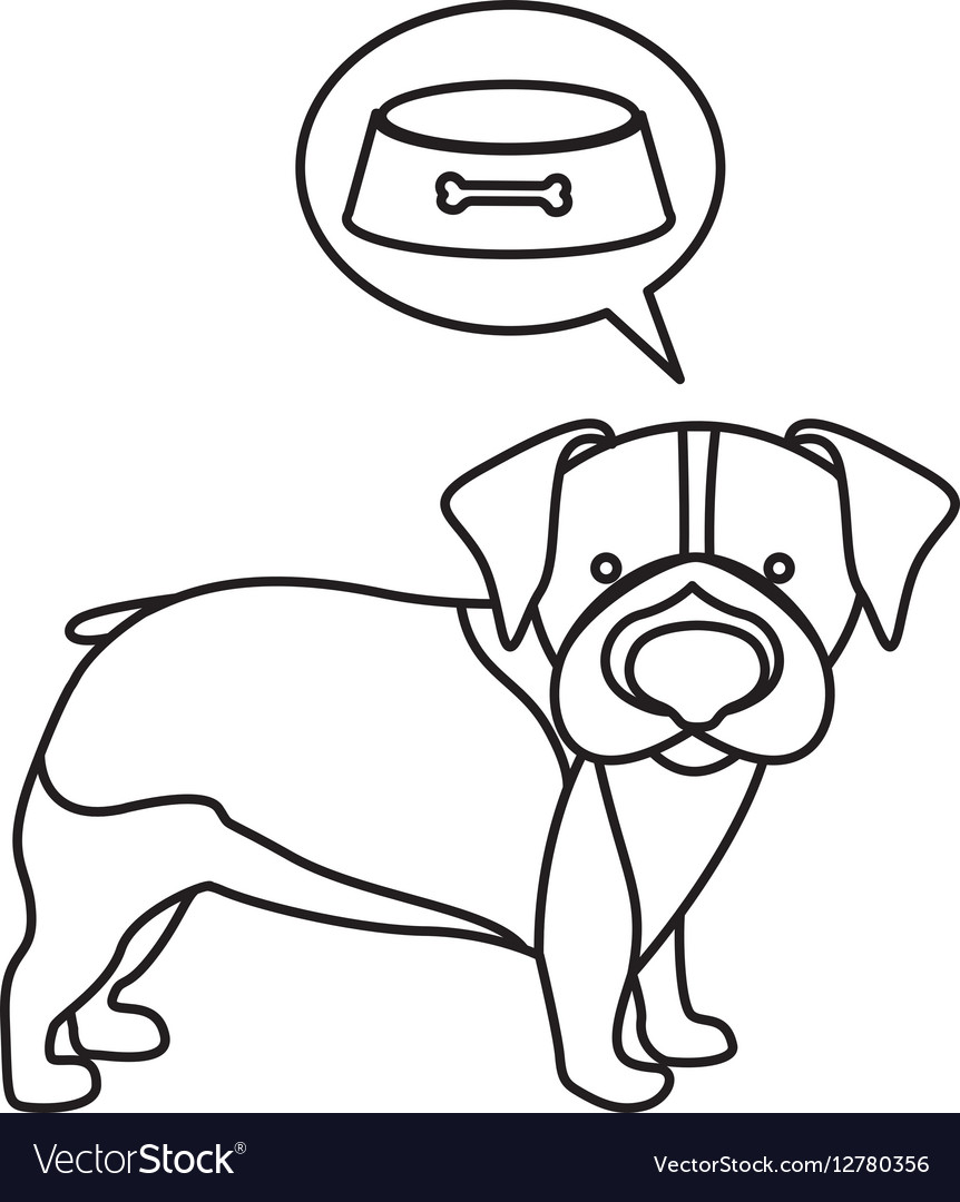 Black contour with beagle dog thinkin food