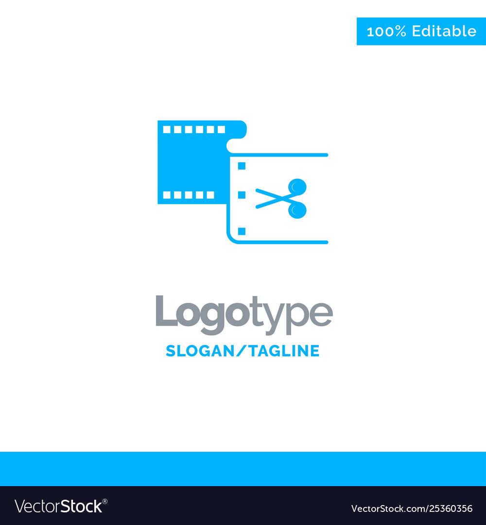 Clip cut edit editing movie blue solid logo