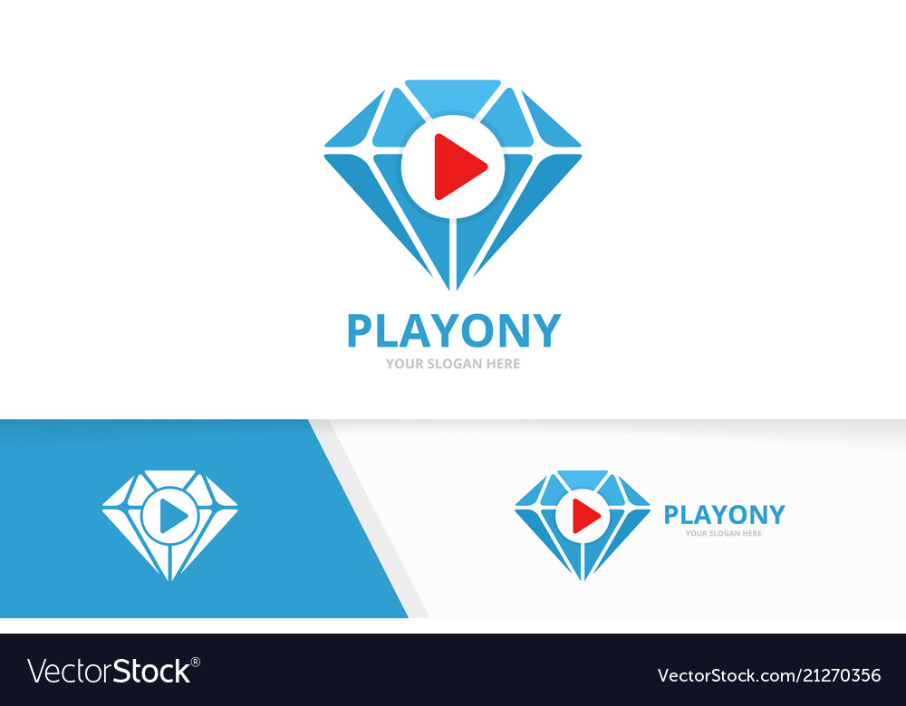Diamond and play button logo combination