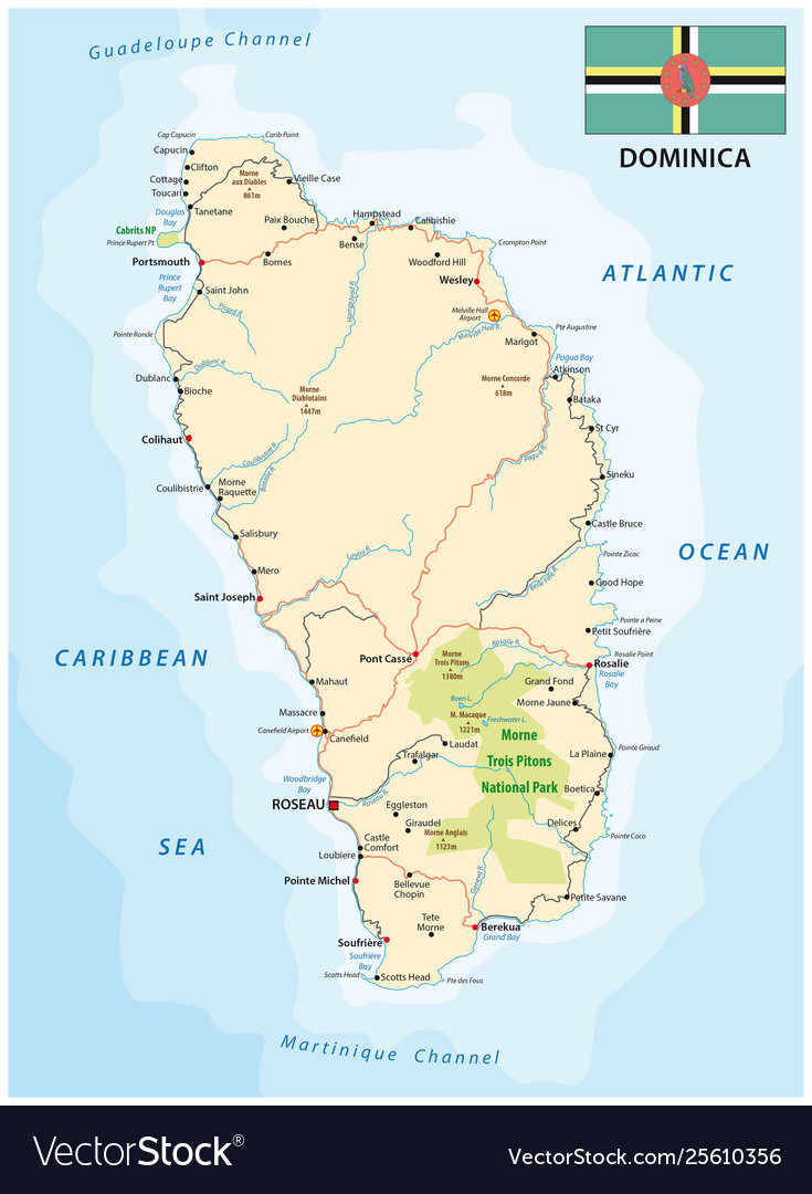 Dominica road map with flag lesser antilles Vector Image on