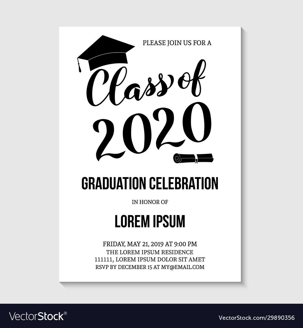 Graduation party invitation card template black Vector Image