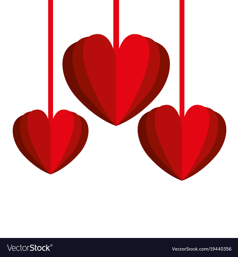 hearts love decorative hanging royalty free vector image rh vectorstock com free vector heart art free vector heart shape
