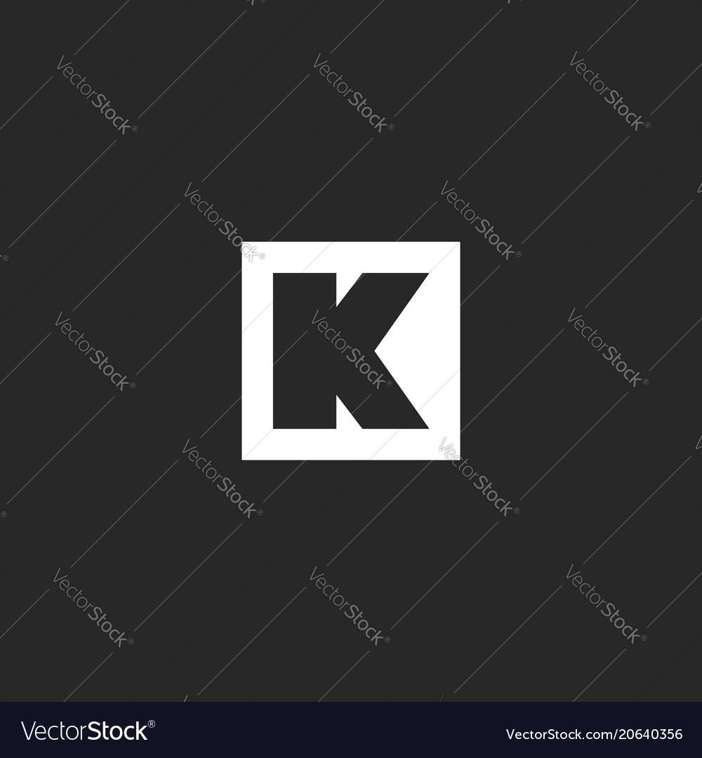 Letter k logo monogram square frame geometric