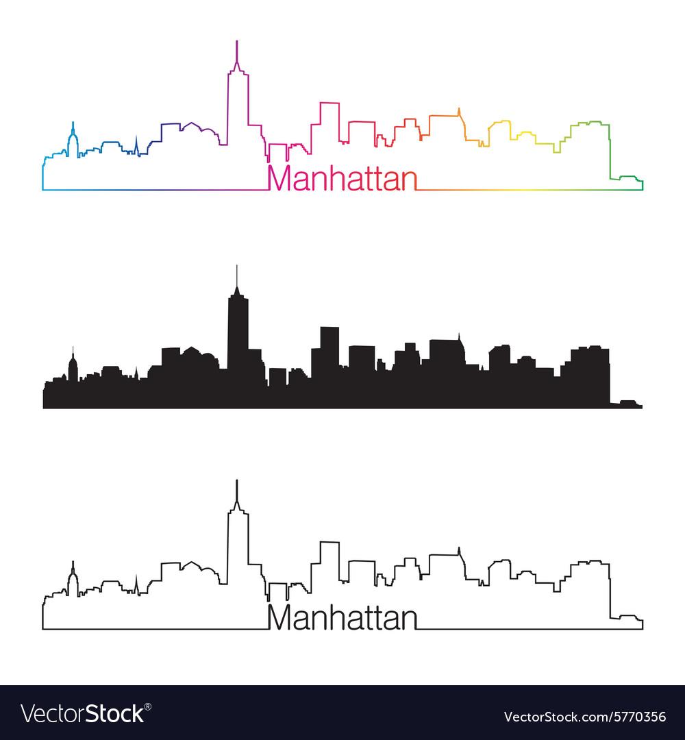 Manhattan skyline linear style with rainbow