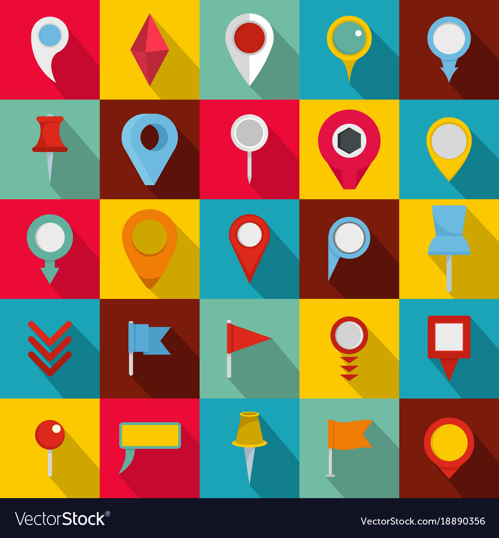 Map pointer icons set flat style