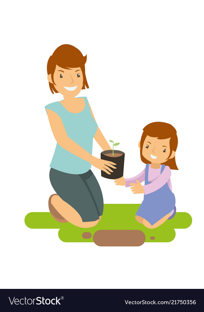 Mother and daughter learning to grow plants