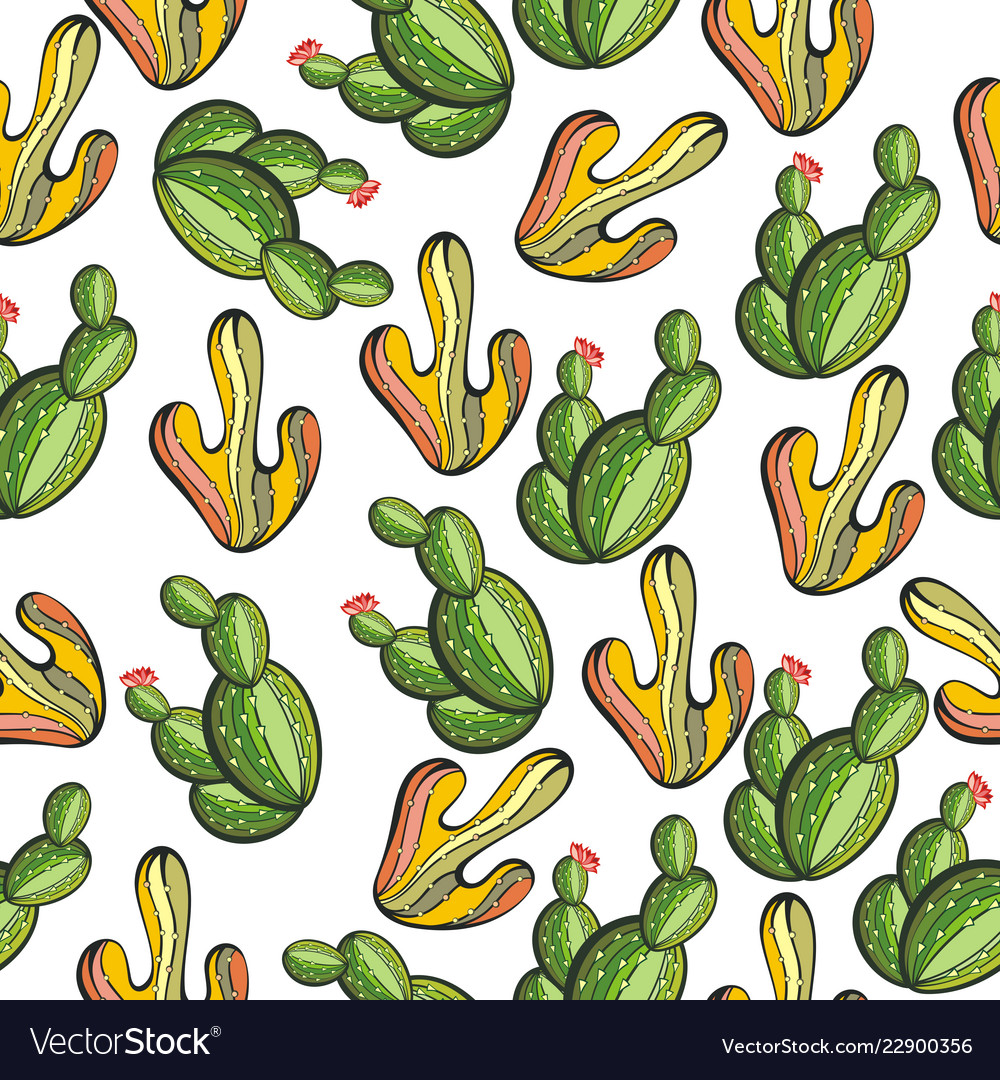 Pattern with cactus