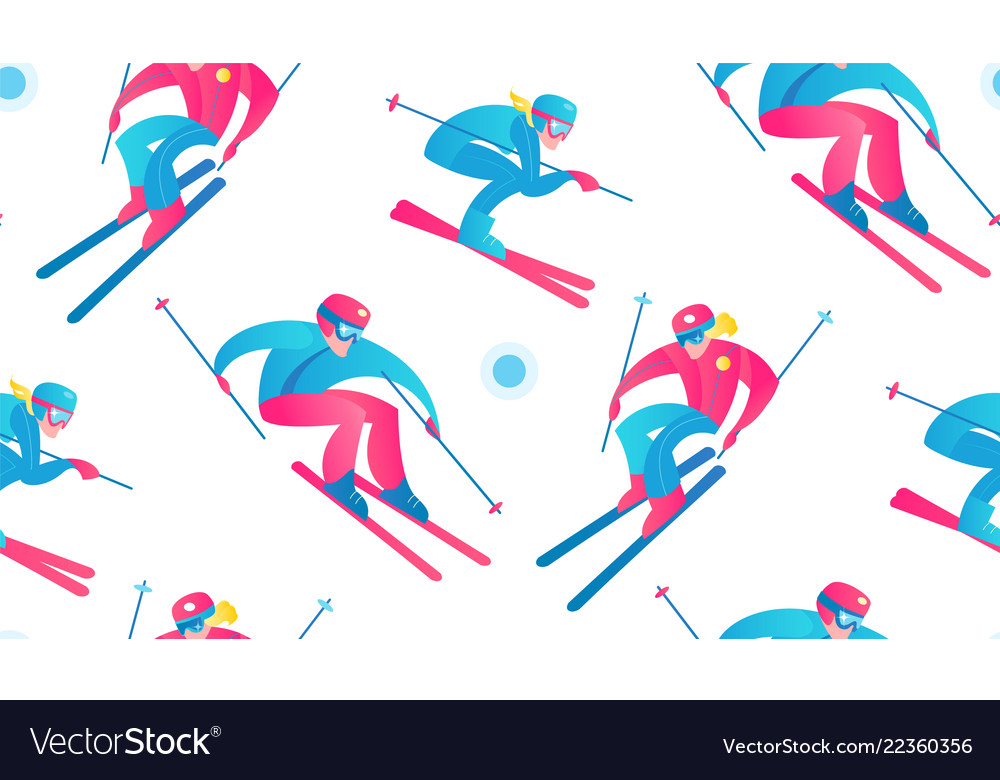Winter sport seamless pattern skiers and snow