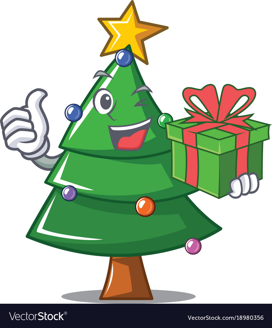 With Gift Christmas Tree Character Cartoon Vector Image Drawing cartoon trees is really really easy! vectorstock