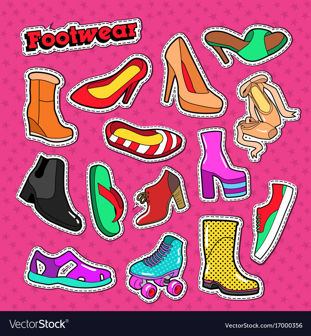 Woman shoes fashion stickers female footwear vector image