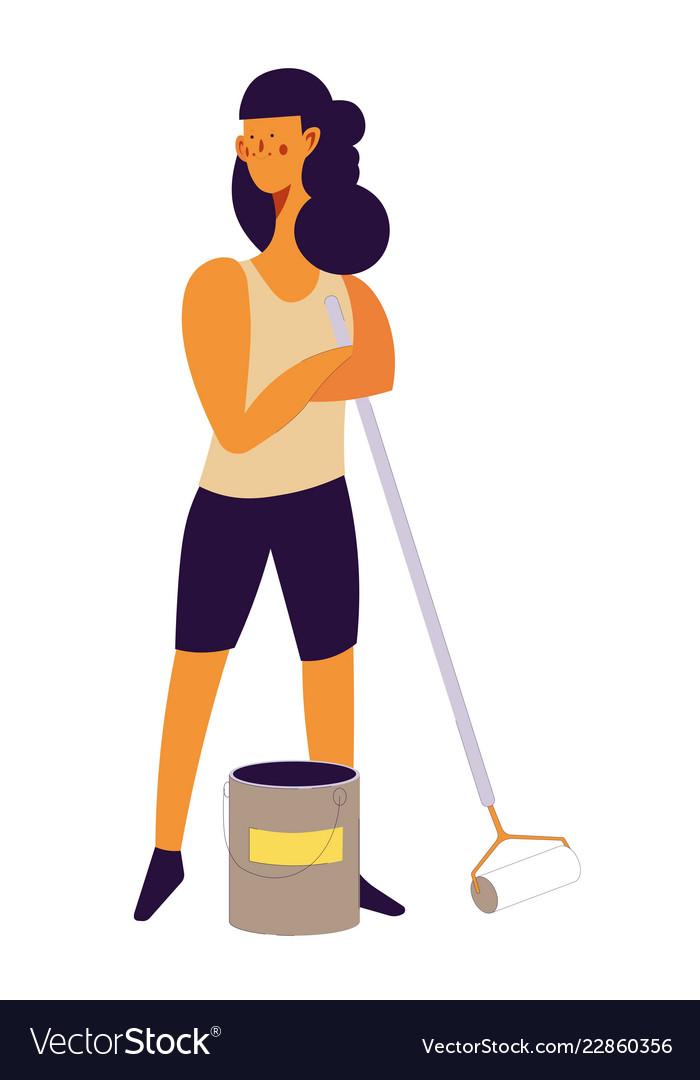 Woman worker in process of repairing room of